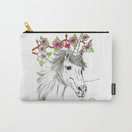 Unicorn and flowers Carry-All Pouch