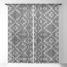 Southwestern textured navajo pattern in black & white Sheer Curtain