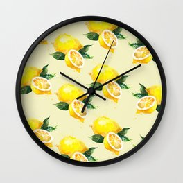 Lemon Pattern in Watercolour Wall Clock