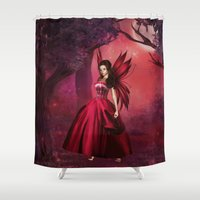 ruby Shower Curtains featuring Ruby by Fairytale Art