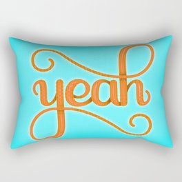 YEAH (BRIGHT HAND LETTERED TYPOGRAPHY ART) Bright Baby Sky Blue and Orange Rectangular Pillow