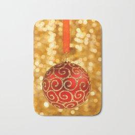 Christmas Bauble on Gold Bath Mat