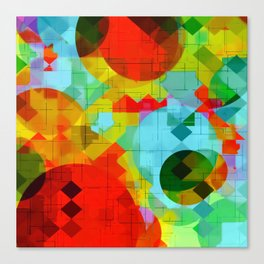 geometric square pixel and circle pattern abstract in red blue yellow Canvas Print