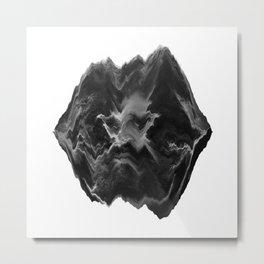 Black and White Glitch Art Metal Print
