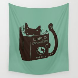 World Domination for Cats (Green) Wall Tapestry