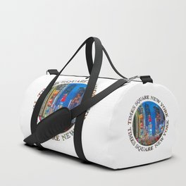 Times Square Broadway (New York Badge Emblem on white) Duffle Bag