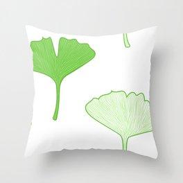 Seamless Gingko biloba leaves. Vector background Throw Pillow