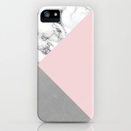 Pink, Marble and Concrete iPhone Case