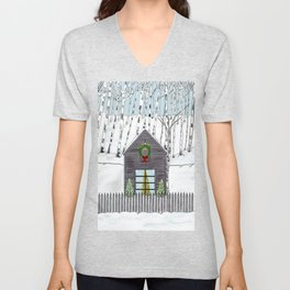 Christmas Cabin In The Snowy Woods Unisex V-Neck