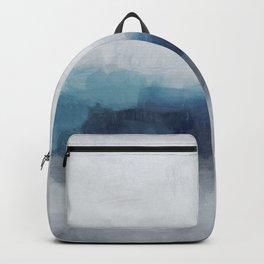 Indigo Navy Ocean Horizon, Sky Gray Blue Abstract Nature Ocean Rainy Cloudy Sunrise Water Art Print Backpack