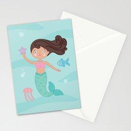 Mermaid Swim Swimming Stationery Cards