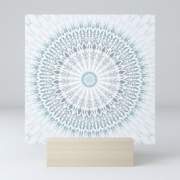 Teal Aqua Mandala Mini Art Print