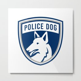 Police Dog Shield Mascot Metal Print