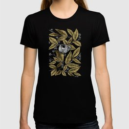 Happy Sloth – Tropical Gold Leaves T-shirt