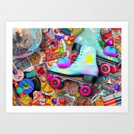 Super Retro Roller Skate Night Art Print