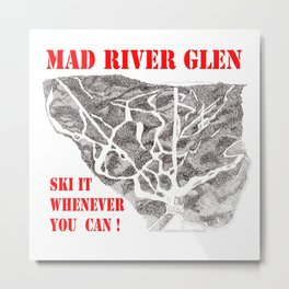 Mad River Glen Vermont, Ski Zentangle Illustration Metal Print