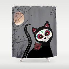 Sugar Skull Black Cat Shower Curtain