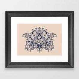Lotus Mandala Pug Framed Art Print