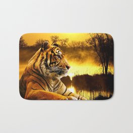 Tiger and Sunset Bath Mat