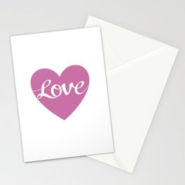 Love Script Pink Heart Design Stationery Cards