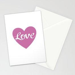 Love Script Pink Heart Design Stationery Cards
