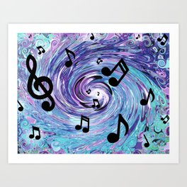 Musical Notes in Blue Art Print
