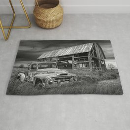 Rusted Pickup Truck in Black and White in a Rural Landscape Rug
