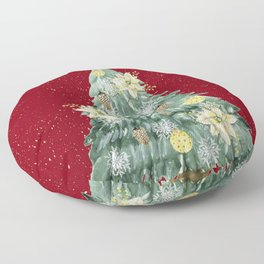 Christmas Tree Merry Christmas Red Floor Pillow
