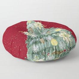 Christmas Tree Merry Christmas Red Floor Pillow