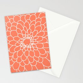 Coral Chrysanth Stationery Cards