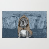english bulldog Area & Throw Rugs featuring English Bulldog in Stonehenge by Barruf