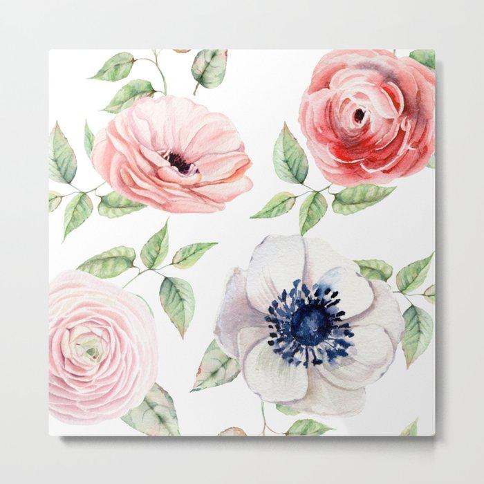 Pretty Red Rose + Pink Roses Pattern Metal Print