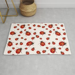 LOVING RED LADY BUGS  ON WHITE COLOR DESIGN ART Rug