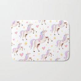 Rainbow Unicorns — Hearts & Stars Bath Mat