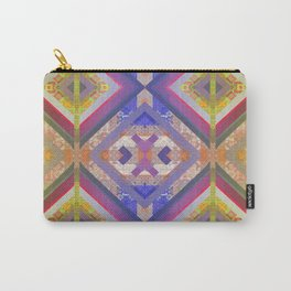 Ancient Future Psychedelic Geometric Boho Quilt Print Carry-All Pouch