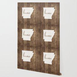 Arkansas is Home - White on Wood Wallpaper