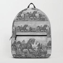 HORSES black & white illustration  Backpack