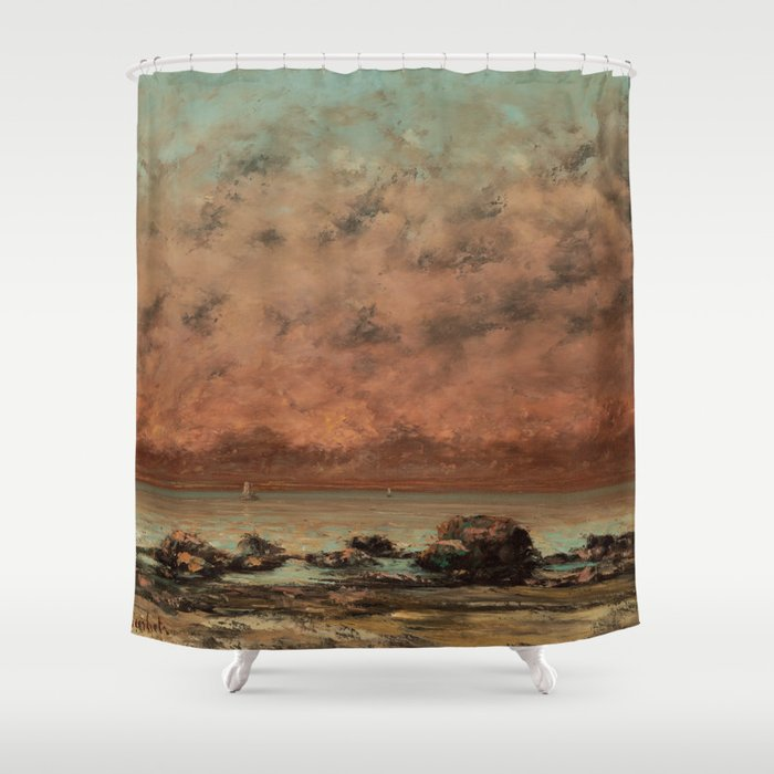 Gustave Courbet - The Black Rocks at Trouville Shower Curtain