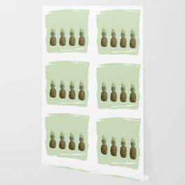 Four Juicy Pineapples Summer Fruits Series - Green Wallpaper