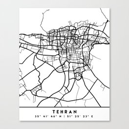 TEHRAN IRAN BLACK CITY STREET MAP ART Canvas Print
