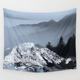 FOGGY BLUE MOUNTAINS Wall Tapestry