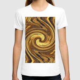 Gold Brown Abstract Sun Rotation Pattern T-shirt