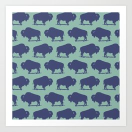 Buffalo Bison Pattern Blue and Turquoise Art Print