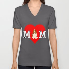 Dog Mom Heart Paw Prints Basset Hound Unisex V-Neck