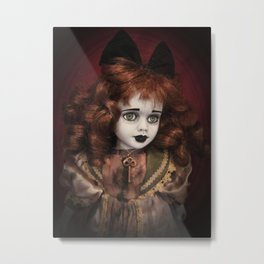 Creepy doll with Green Eyes and Old Key Metal Print