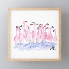 Flock of flamingos Framed Mini Art Print