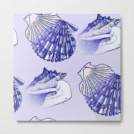 Seashells Beach Pattern Blue Metal Print