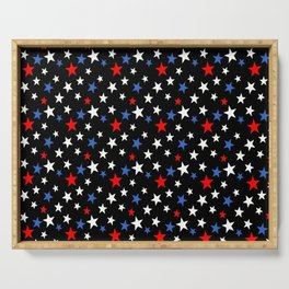 Bold Patriotic Stars In Red White and Blue on Black Serving Tray