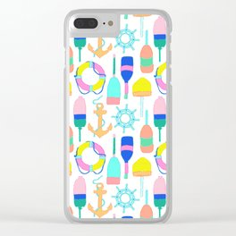 Nautical Notions in White + Candy Rainbow Clear iPhone Case