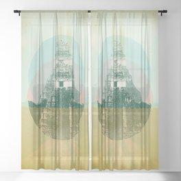 MAYAN TEMPLE Sheer Curtain